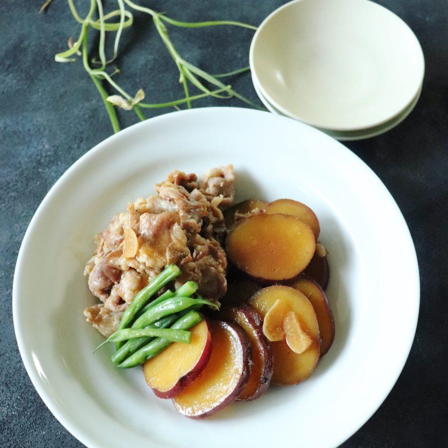 豚肉とさつまいものにんにく甘酢煮(レシピ付き)
